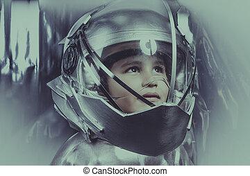 ありなさい, 探検家, スペース, 上に, 男の子, 金属, 銀, ヘルメット, 宇宙飛行士, 背景, スーツ, 遊び