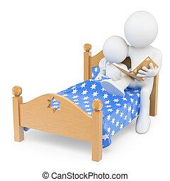 ありなさい, 父, 読書, 就寝時刻, 人々。, 息子, 彼の, 3d, 物語, 白