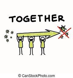 ありなさい, affects, それぞれ, ウィルスである, dont, ポジティブ, 滞在, グラフィック, 思いやり深い, worl, infographic., everyone., 旗, 広く, コロナ, ウイルス, pandemic, 助け, covid, クリップ, stickman, 他, ポスター, 感触, 19, 種類, art., コミュニティーサポート