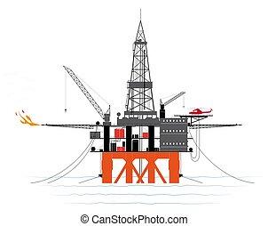 ∥あるいは∥, オイル, 追跡された, ガス, floor., 海洋, details., プラットホーム, 生産,...