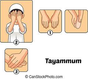 ∥あるいは∥, ガイド, 浄化, 完了しなさい, ステップ, tayammum, muslim, 男の子, セット, 乾きなさい, 能力を発揮しなさい