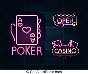 ∥あるいは∥, ギャンブル, ネオン, カジノ, 広告板, ポーカー, 旗, 印, カード