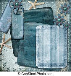 ∥あるいは∥, テンプレート, 青, カード, ブランク, 挨拶, フレーム, 色, 写真