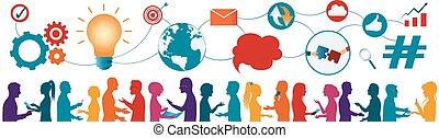 ∥あるいは∥, データ, 交換, -, 未来, questions., 作戦, technology., ネットワーク, コミュニケーション, 人々。, 接続, teamwork., 共有, 多様, multicultural, 心, ideas., multiethnic, 考え, map.