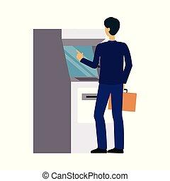 ∥あるいは∥, トランザクション, 機械, 人, ビジネスマン, お金を もうけること, カード, 現金, 銀行, atm, 撤退, クレジット, 使うこと
