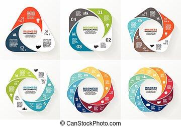 ∥あるいは∥, ビジネス, 幾何学的, オプション, chart., プレゼンテーション, 6, 図, グラフ, テンプレート, 周期, ベクトル, infographics, ラウンド, processes., 8, 5, set., 円, 部分, ステップ, 4, 3, 7, 概念