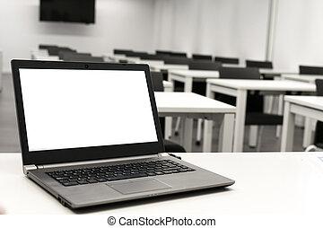 ∥あるいは∥, ビジネス, 教師, classroom., ラップトップ, テーブル, オンラインで, 机の仕事, ラップトップ, 置かれた