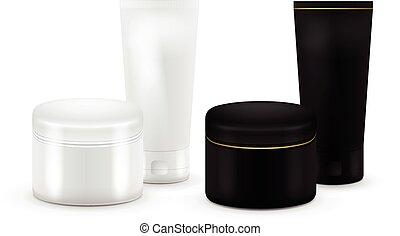 。, ∥あるいは∥, プロダクト, セット, 容器, クリーム, チューブ, gel., 化粧品, 歯磨き粉, color., clean., container., 黒, 粉, ブランク, packing., 白, ベクトル, 血清, mock