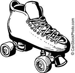 ∥あるいは∥, レトロ, 白, ローラー, ダービー, 型, 黒, 型板, 女, スケート, 女性