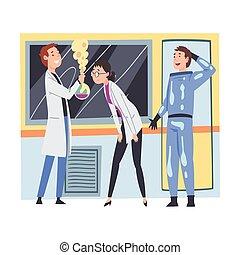 ∥あるいは∥, 人々, 科学, 科学者, イラスト, 実験室, 助手, ベクトル, 研究, 実験