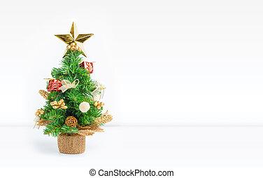 ∥あるいは∥, 休暇, 木, スペース, ディスプレイ, カード, 休日, クリスマス, 挨拶, 付け加える, スタジオ, 部屋, 背景, design., 白