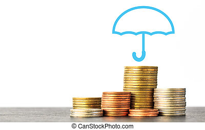 ∥あるいは∥, 保険, お金, ヒープ, 概念, 適用範囲, コイン, 山, 保護, 傘