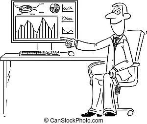 ∥あるいは∥, 図, グラフ, チャート, 仕事, ビジネスマン, 財政, 漫画, ディスプレイ, 指すこと, コンピュータ, 人, ベクトル, スクリーン, 漫画