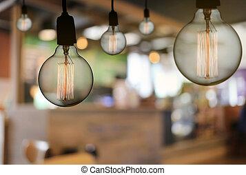 ∥あるいは∥, 天井, restaurant., ランプ, 現代, こつ, 電球, ライト, 型