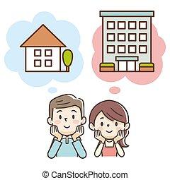 ∥あるいは∥, 家, アパート, 孤立した, について, 購入, 新婚者, 考え, 恋人