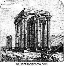 ∥あるいは∥, 寺院, コラム, ギリシャ, zeus, engraving., olympian, 型, athens., zeus