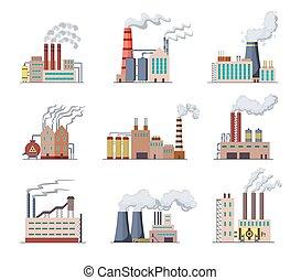 ∥あるいは∥, 建物, 核, 植物, 力, セット, ベクトル, 平ら, 工場, 煙, 精製所, 建物, factorys, デザイン, 大きい, illustration., 工場, stations., 産業, パイプ, 工場