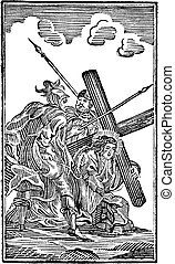 ∥あるいは∥, 彫版, 宗教, allegorical, 3th, 第3, 図画, 骨董品, 聖書, 方法, 聖書, crucis., testament., を経て, 型, 駅, 新しい, 交差点