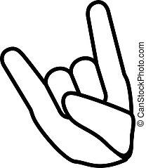 ∥あるいは∥, 手, 索引 指, イラスト, gesture., outline., 悪魔, ジェスチャー, 金属, pictogram., 岩, 折られる, ベクトル, 延長, 線である, finger., -, わずかしか, 印, 角