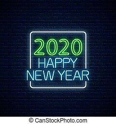 ∥あるいは∥, 招待, 長方形, frame., 白熱, 挨拶, 年, ネオン, 新しい, 2020, 幸せ, カード,...