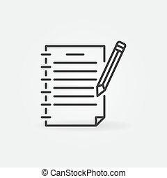 ∥あるいは∥, 概念, 鉛筆, アイコン, アウトライン, 執筆, ノート, ベクトル
