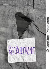 ∥あるいは∥, 構成, 印, paper., 提示, 中, 形式的, recruitment., 行動, 装置, ズボン, 前部, 従業員, サポート, 仕事, smartphone, 概念, 可能, 見つけること, ポケット, 新しい, 写真, メモ, テキスト, 参加しなさい