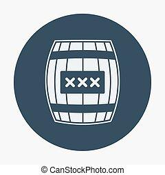 ∥あるいは∥, 海賊, barell., ベクトル, デザイン, 平ら, illustration., 大樽, アイコン