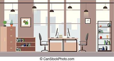 ∥あるいは∥, 現代, オフィス家具, coworking, 平ら, 内部, 仕事場