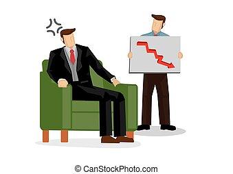 ∥あるいは∥, 管理, 彼の, 概念, 投資, 景気後退, 金融, 上司, 株, lost., 怒る