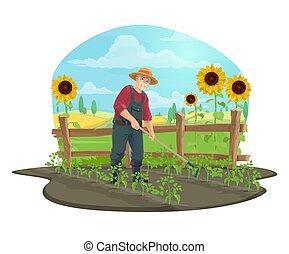∥あるいは∥, 農夫, くわ, 庭, 野菜, 庭師