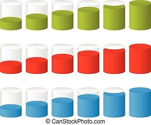 ∥あるいは∥, 進歩, ステップ, レベル, indicators., cylinders., 充足, 完成, 3d