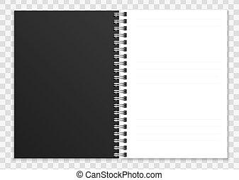 ∥あるいは∥, copybook, カバー, メモ用紙, らせん状に動きなさい, イラスト, はねるように駆けなさい, 現実的, ベクトル, notebook., リング, 開いた, ページ