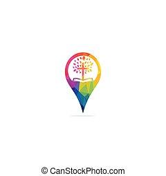 ∥あるいは∥, design., ポインター, 教会, ロゴ, 地図, シンボル, locator, icon., gps