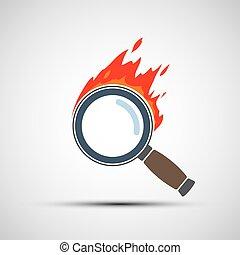 ∥あるいは∥, flame., 捜索しなさい, loupe, 焼跡, magnifier, logo.