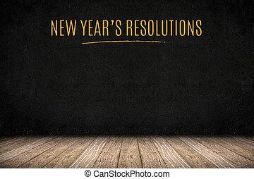 ∥あるいは∥, mock, ビジネス 提示, 付け加える, 年の, 黒板, 木, 壁, 床, 新年, の上, 計画, 板, デザイン, テキスト, あなたの, 金, resolutions