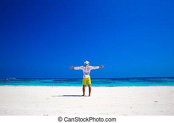 ∥あるいは∥, seashore., success., 手, nature., 無料で, 腕, 幸せ, 上げること, トロピカル, 生活, 自由, enjoyment., 人, 彼の, 開いた, 浜。, 楽しむ