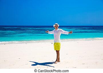 ∥あるいは∥, success., ビジネス, 無料で, 腕, 幸せ, 上げること, 休暇, 夏, 手, トロピカル, 開いた, 浜。, nature., 生活, 自由, enjoyment., 人, 楽しむ