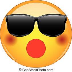 ∥あるいは∥, sunglasses., 身に着けていること, emoji, ほお, 顔, 黄色, 陰, 持つこと, ...