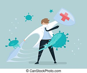 ∥あるいは∥, viruses., illustration., coronavirus., 上に, 保護, 剣, ...