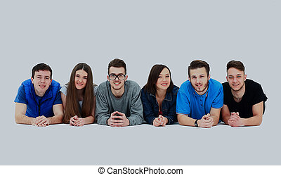 あること, グループ, 若い, row., 人々