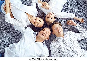 あること, 微笑, floor., 家族, 幸せ