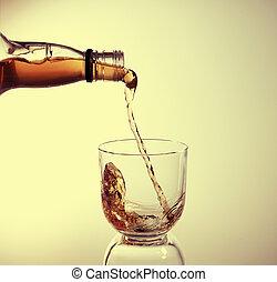 ある, ガラス, 注がれた, ウイスキー