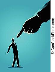 ある, ビジネスマン, 巨人, 向けられた, 指