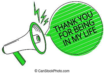 ある, 写真, 印, あなたの, 拡声器, 感謝しなさい, message., スピーチ, テキスト, 概念, あなた, メガホン, 泡, 情事, 誰か, 提示, ストライプ, 重要, 私, 緑, life., 大声で, 側