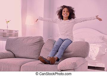 ある, 単独で, 家, 女の子, すてきである, 幸せ