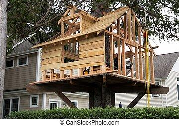 ある, 家, 木, 作られた, 裏庭