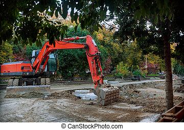 ある, 建設, 駐車される, 掘削機, ハイウェー