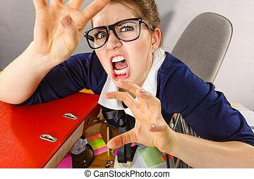 ある, 怒る, 女性実業家, bossy, 激怒している, 気違い