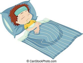 ある, 男の子, 病気のベッド