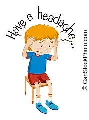 ある, 男の子, wordcard, 病気, 頭痛